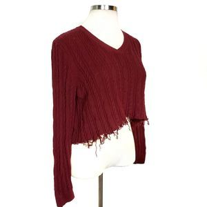 Raw Hem Cropped Sweater Cable Knit S- L